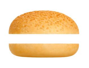 Hamburger bun on a white background