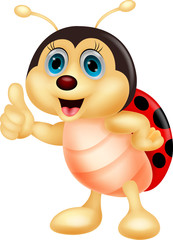 Tuinposter Lieveheersbeestjes Cute ladybug cartoon thumb up