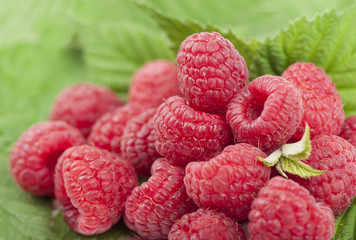 raspberry with leaves background