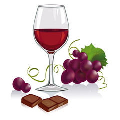 still life with a glass of wine, grapes and chocolate