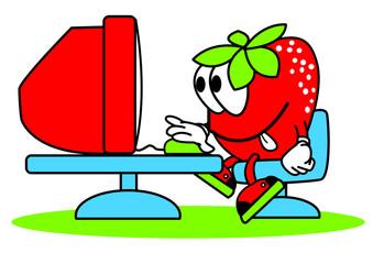 fraise,ordinateur,informatique,personnage,web,mail,surfer