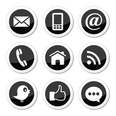 Contact, web, and social media icons - twitter, facebook
