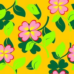 Seamless texture with flowers and green petal. Vector illustrati
