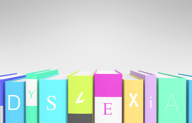 """Colorful books that spells out """"dyslexia"""""""