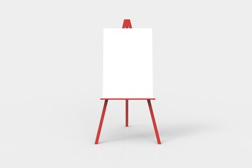 A red easel with a blank white canvas on it.