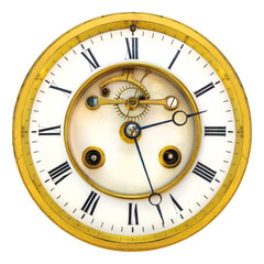 Ancient golden open clock face isolated on white