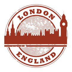 Stamp with London, England inside, vector illustration