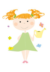 Smiling little girl in spring with watering can