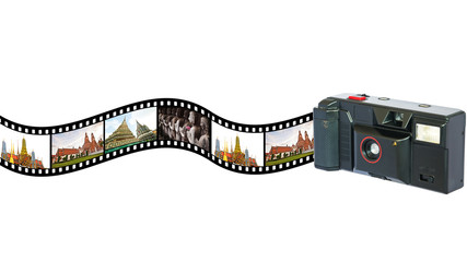 Old  vintage camera  with  pictures of  tourist attraction in  T