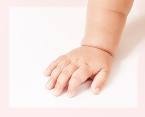 Baby hand isolated on white