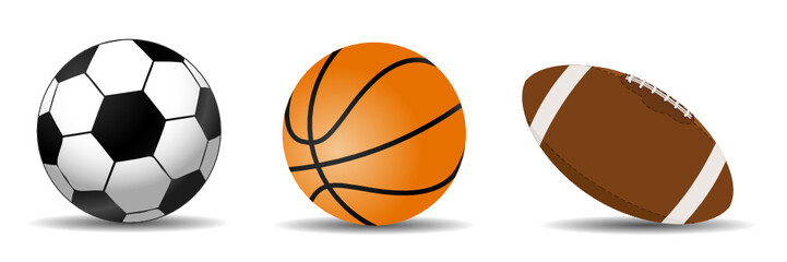 set of three sports balls, soccer, basketball and football