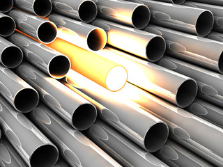 3D chrome tubes with overheated tube. Concept - the best.