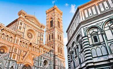 Florence Cathedral with Baptistery in Florence, Tuscany, Italy