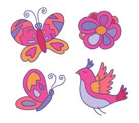 Set of vector decor details - butterflies, bird and flower