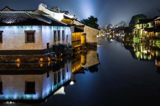 Ancient Watertown in China at night, Wuzhen near Shanghai