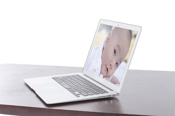 baby photo on a laptop