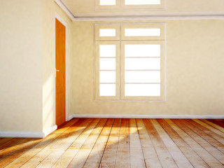 empty room with a wooden door and a window