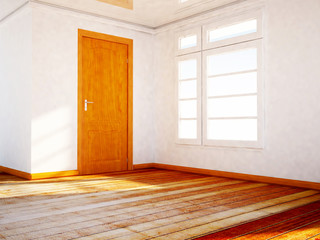 empty room with a wooden dorr and a window