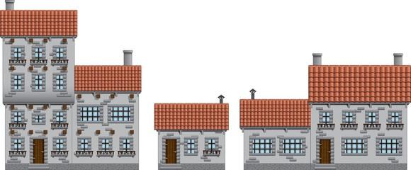 Medieval town buildings set