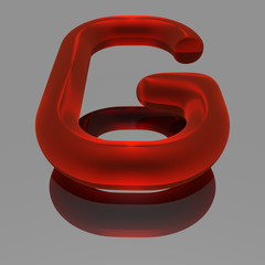 Red metallic 3d font - letter G
