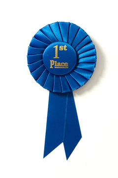 First place blue ribbon on white