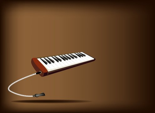 A Musical Melodica on Dark Brown Background