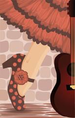 Spanish flamenco party card, vector illustration