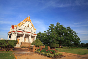Beautiful white Thai temple or monastery at Phutthamonthon