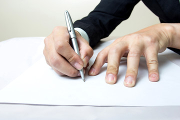 Writing with right hand