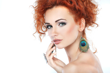 Red hair. Fashion girl portrait .Accessorys.Isolated on a white