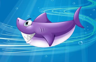 A deep sea with a shark