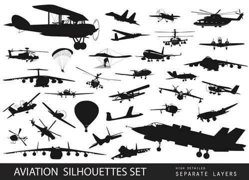 Vintage and modern aircraft silhouettes collection. Vector EPS8
