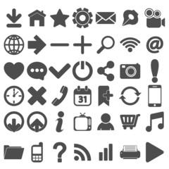 Grey Web Icons Set on white