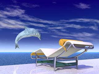 Urlaubsimpression mit springendem Delfin und Liegestuhl