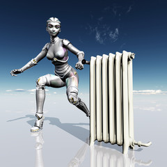 Female Robot with Radiator