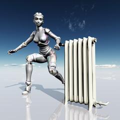 Female Robot with Radiator