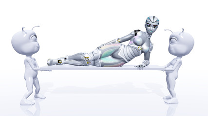 Female Robot with Aliens