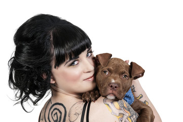 Beautiful Woman and Pit Bull Puppy