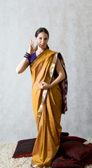 woman in a sari on a white background