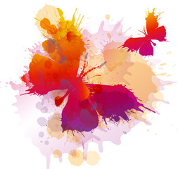 Ingelijste posters Vlinders in Grunge Colorful splashes butterflies on white background