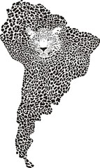 Camouflage Jaguar on the map of South America