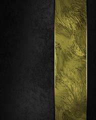 Elegant black background with gold plate. Design element.