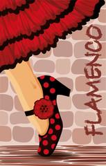 Spanish flamenco dance card, vector illustration