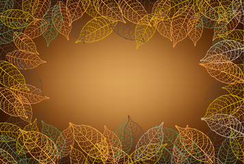 leaves frame  brown background
