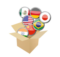 box full of flags. illustration design
