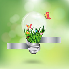 Vector light bulb with beautiful flower inside