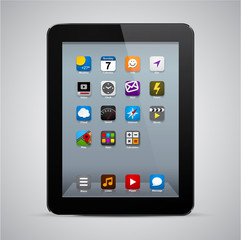 Realistic black tablet with apps.