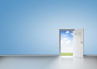 Door opening to reveal blue sky and meadow