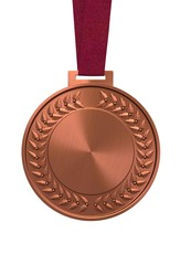 Bronze medal on a red ribbon