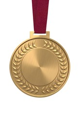 Gold medal on a red ribbon